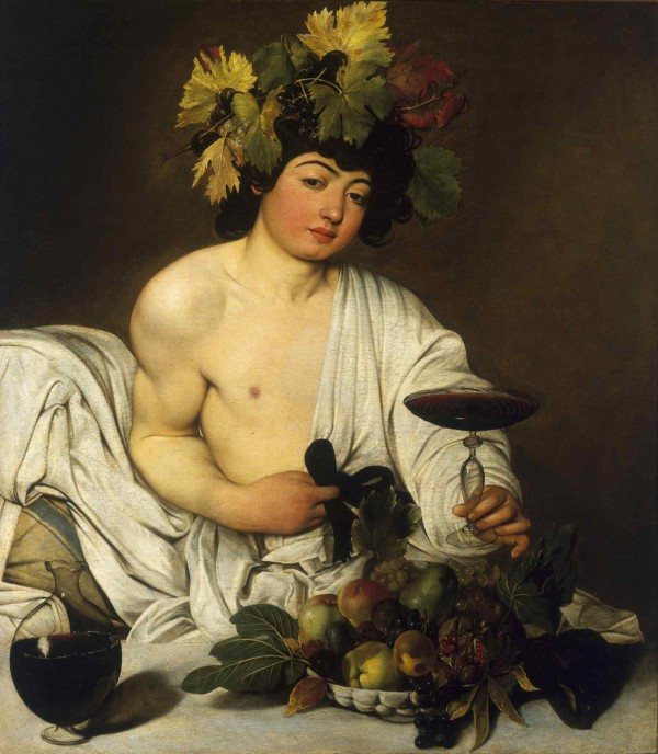 "Painting by Caravaggio entitled ""Bacchus"", in the Uffizi Gallery in Florence1990Caravaggio, Michelangelo Merisi, known as (1571-1610)1597Florence - The Uffizi Gallery"