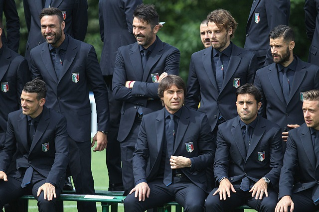 Players of Italy pose for a team photo ahead of the 2016 UEFA Euro 2016 at Coverciano on June 1, 2016 in Florence, Italy.