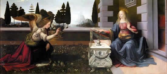 受胎告知 (Annunciazione) 1472-1473年頃 98×217cm | 油彩・板 | ウフィツィ美術館(フィレンツェ)
