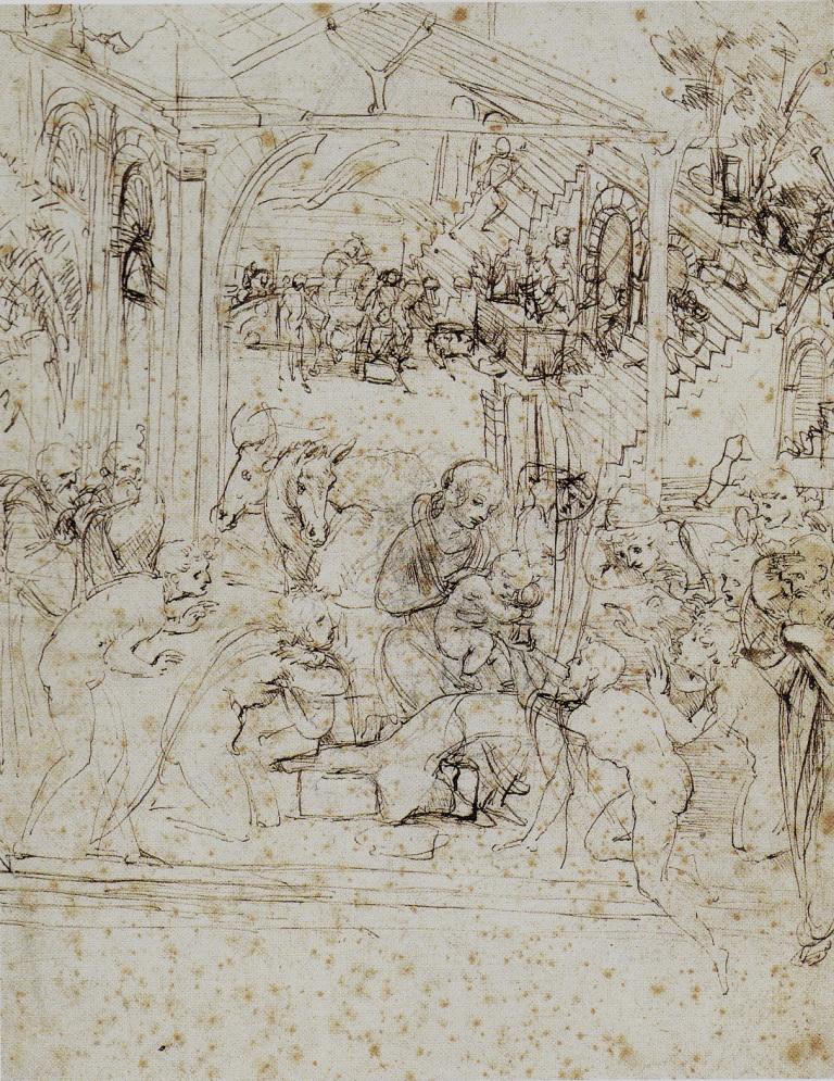 ダ・ヴィンチ 『「東方三博士の礼拝」の構図スケッチ』 |1481年ごろ|ルーヴル美術館