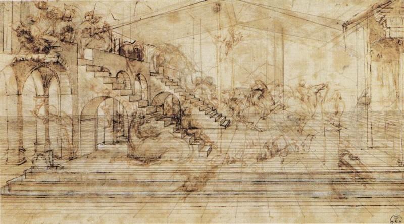 ダ・ヴィンチ 『「東方三博士の礼拝」のための遠近法秀作』|1481年ごろ|ウフィッツィ美術館