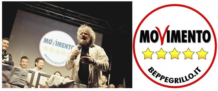 『五つ星運動』ロゴとリーダーのペッペ・グリッロ氏(http://www.il-centro.net/magazine/1205/)